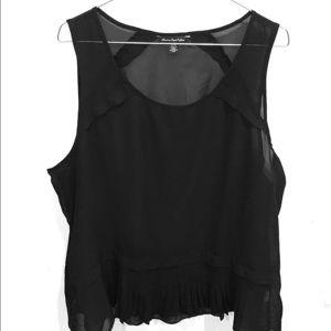 American Eagle black sleeveless sheer blouse XL